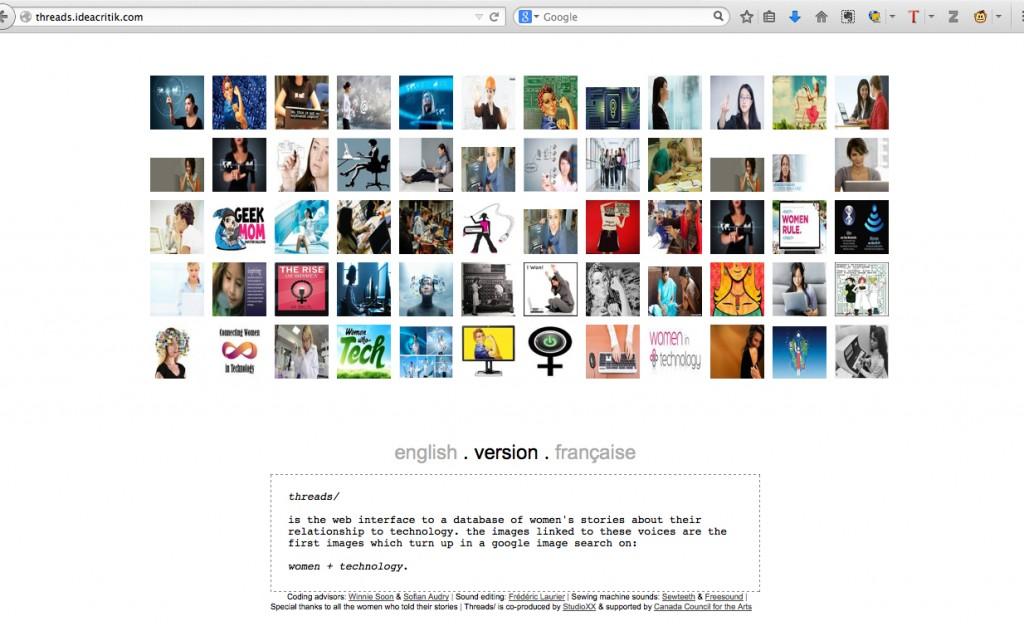 Figure 4: Screen shot of threads/ by Audrey Samson